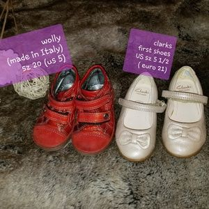 2 pairs of baby girl shoes, genuine leather, sz 5